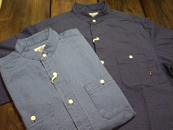 CALEE キャリー スタンドカラーシャツ ドットシャツ.JPG